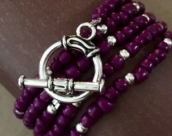 Purple Boho Wrapped Beaded Bracelet