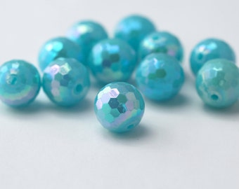 Acrylic Beads Blue AB Faceted Round Disco Ball 14mm (10)