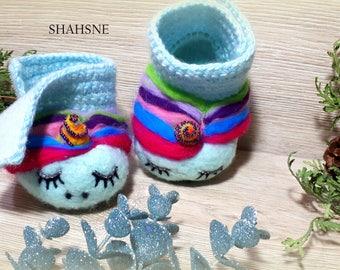 Unicorn Rainbow Baby Shoe Soft Sole Booties Pregnancy Announce Vegan Crib Shoe Organic Grandparents Gift Gender Reveal Merino Wool Felt Mint
