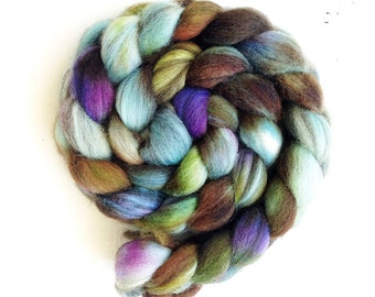 Mixed Blue Faced Leicester spinning fiber, roving, handpainted, hand dyed, top, wool, BFL, Landscape color
