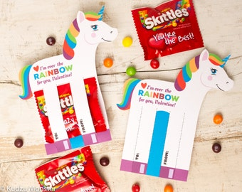 Rainbow Unicorn Valentines Printable DIY Instant Download Skittles Colorful Candy holders horse shaped Valentine's day cards for school