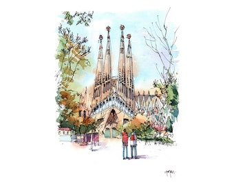 Sagrada Familia Antoni Gaudi / ORIGINAL WATERCOLOR / Eixample, Barcelona / drawing Barcelona REF. W045