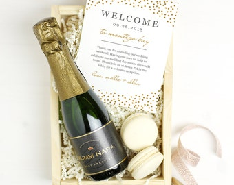 Printable Wedding Welcome Bag Letter, Wedding Welcome Note, Thank You, Gold Dots, Itinerary, Agenda, Hotel Card - INSTANT DOWNLOAD