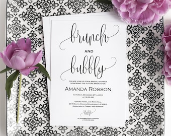 Brunch and Bubbly Bridal Shower Invitations - Bubbly Brunch Invitation - Bridal Shower Invite - PDF Instant Download  #WDH0087