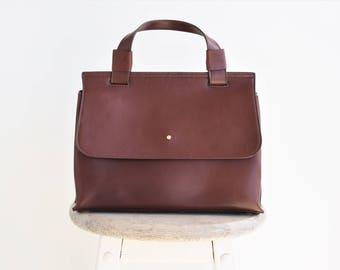 Brown leather bag - Leather shoulder bag - Women shoulder bag - Convertible handbag - Small leather bag - Mini shoulder bag - Mini handbag