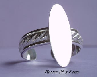 Ring in sterling silver.925 classic design, flat oval 20 x 7 mm
