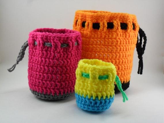 Digital Download Pdf Crochet Pattern Drawstring Bag Set Diy Coin