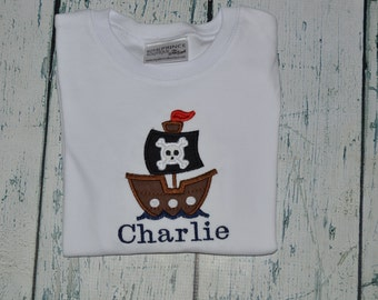 PERSONALIZED Pirate Ship Shirt  Monogrammed