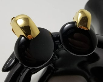 KENNETH LANE Black Disc Earrings