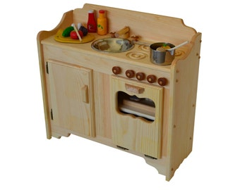 Pretend Play Wooden Play Kitchen- Waldorf toy Kitchen-Play Stove-Montessori Furniture- Wooden Toys- Wooden Kitchen- Play Kitchen-Child's Toy