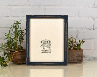 8x10 Picture Frame in Deep Bones Style with Vintage Navy Blue Finish - IN STOCK - Same Day Shipping - Rustic Solid Wood Frame 8 x 10