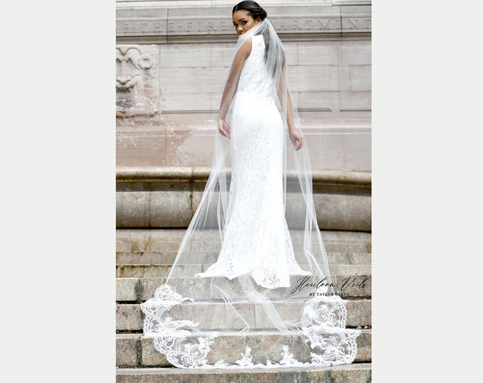 Cathedral Lace Wedding Veil, Cathedral Bridal Veil, Multiple Lengths and Colors, Customized Wedding Veil SC-06