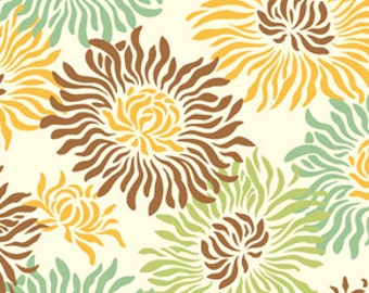 Heather Bailey Freshcut Graphic Mums Brown Fabric, 1 Yard