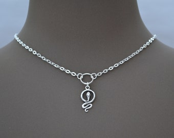 SNAKE Charm Necklace, Silver Plated Cable Chain, O Ring Hoop Charm... Handmade, Choose Length :)