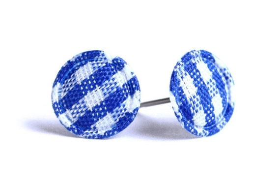 Blue and white plaid round dot padded fabric stud earrings (327)