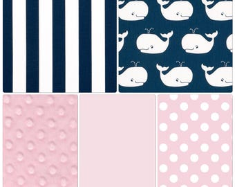 Baby Bedding Crib Set Pink and Navy Whales Nautical Nursery with Blanket