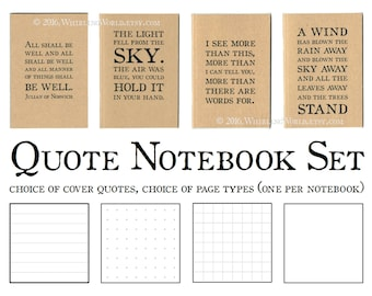 Quote Notebook Gift Set | 4 Literary Quote Journals | A6 Kraft Pocket Notebook Bundle, Choice of Quotations, Lined Grid Plain Recycled Paper