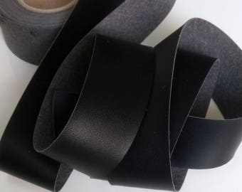 Through black faux leather very soft faux leather Ribbon touched soft piping sold by 50 cm 3 cm width