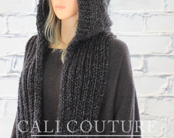 Knit Hooded Scarf Pattern - Montreal Hooded Infinity Scarf Pattern #32 - Knitting Scarf PATTERN - Digital Download - Not a Physical Scarf!