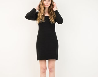 VINTAGE BLACK KNIT Dress with Lace Details in the Back / S / hipster dress black stretchy mini dress with long sleeves