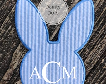 Monogram Bunny Patch | Iron On Easter Bunny Patch | Make Your Own Easter Shirt | Blue Seersucker Monogram Easter Bunny Patch |
