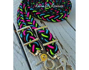Neon Pink, Blue, Green & Black Adjustable Riding Reins