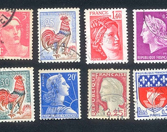 Vintage French Postage Stamps - 1960's   -   Arts and Crafts, Handmade Cards, Collage
