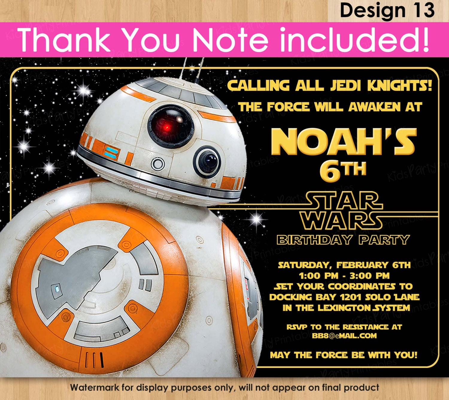 BB8 Invitation Star Wars Invitation PRINTABLE Star Wars The