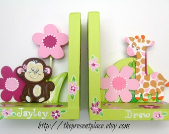 Hand painted wooden monkey and giraffe bookends,flowers,pink,green girly jungle,personalized bookends,girl jungle bookends,kids bookends