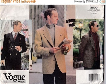 ON SALE 2001 Sewing Pattern - Vogue 2800 Men's Jacket Size 44 - 48 Factory folded and complete