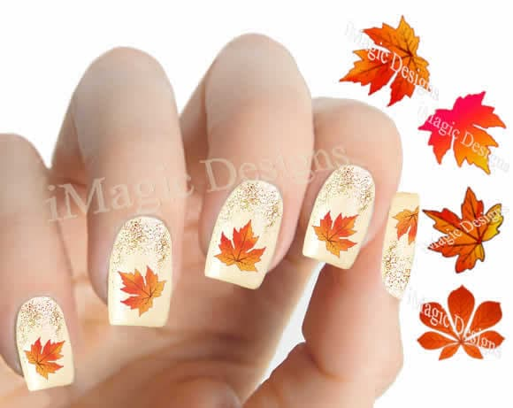 🔎zoom - Nail Decals Water Slide Nail Transfer Stickers For Autumn