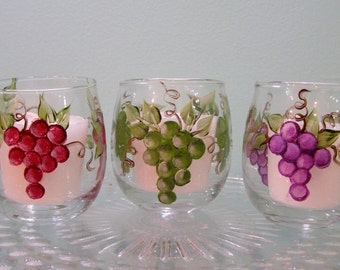 A set of 3 Hand Painted Grapes on Glass Votives