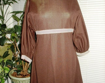 1960s Chocolate Brown Polyester Empire Waist Dress Size 14