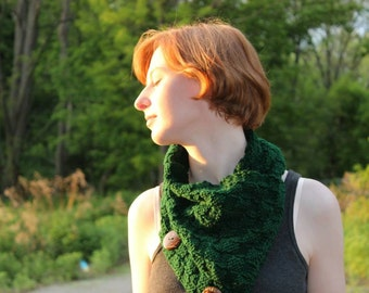 Hand knit infinity scarf w/ buttons