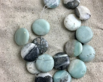 Amazonite Coin Beads, blues, blacks, and whites, 2 cm, 1 mm hole, 18 beads per strand