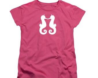 Women's Kissing Seahorses T-shirt, White Silhouette Art, Ladies Clothing, Sea Animals, Swimming in Ocean, Underwater Horse, Aquatic Style