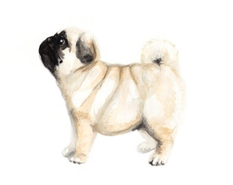 Pug Watercolor Painting Art Print by Itsy Belle Studio