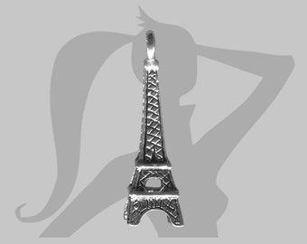 Metal 3D eiffel tower charm silver 24 x 7 mm