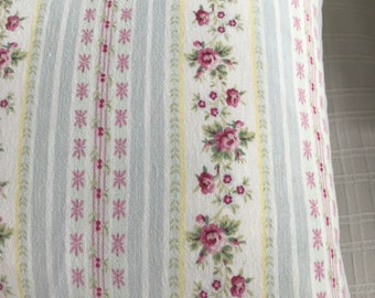 New handmade floral  ticking pillow with pink roses