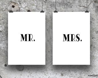 MR and MRS duo set of wall prints
