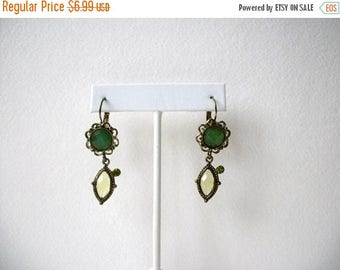 ON SALE Retro Antiqued Gold Tone Green Glass Rhinestones Earrings 51416