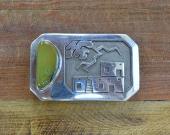 Handmade Green Turquoise and Sterling Silver Belt Buckle by Michael Whiteshadow