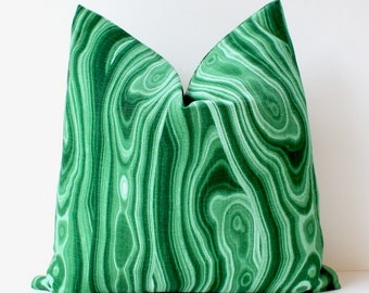 Emerald Green Malachite Decorative Designer Pillow Cover Accent Cushion natural curiosities stone jewel tones gemstone kelly abstract