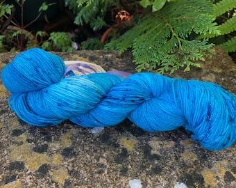 "100grms hand painted merino/nylon /stellina fingering weight yarn "" teals"""