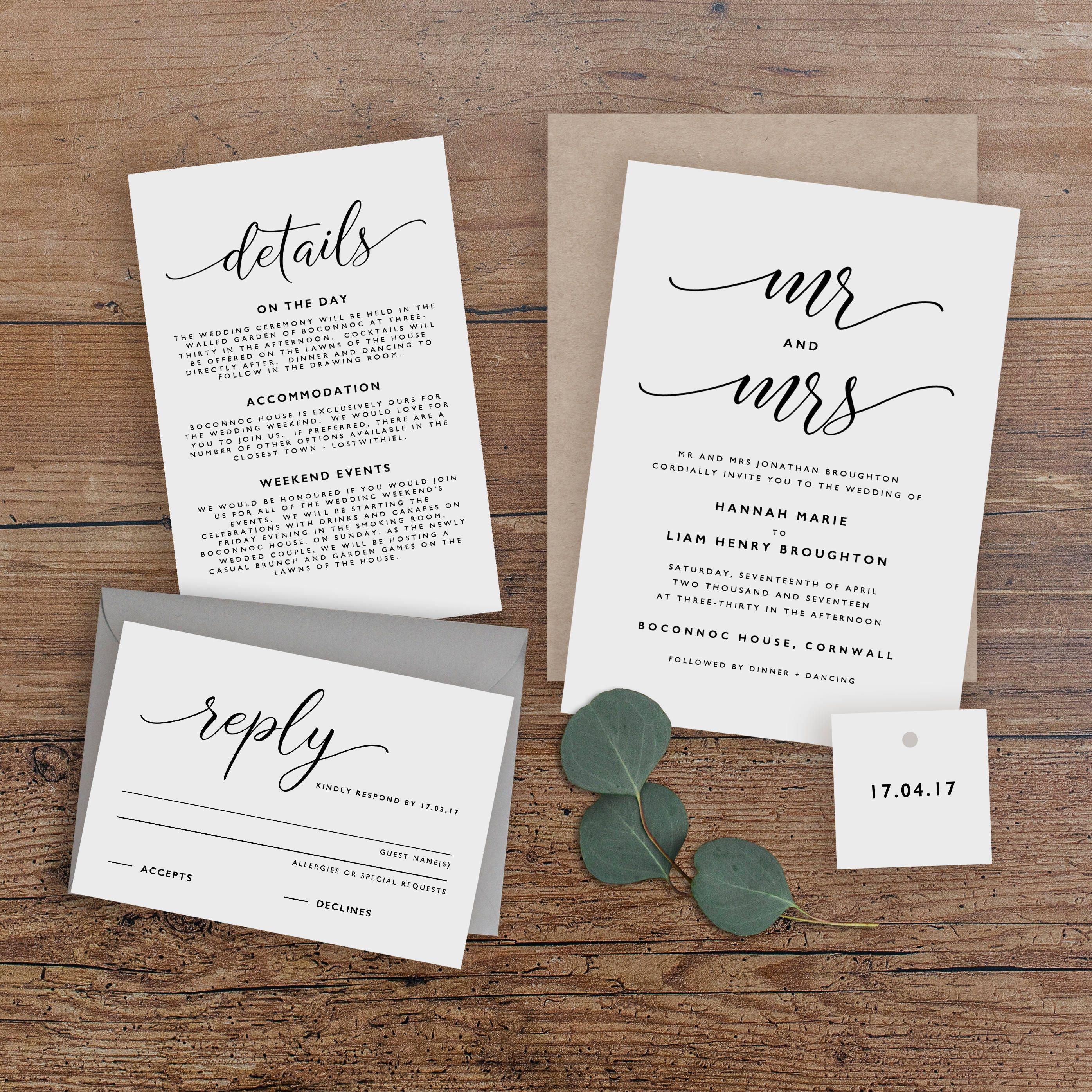 Editable Wedding Invitation Template Printable Wedding