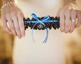 Thin Blue Line Police Officer Wedding Garter in Royal Blue and Black Satin with Swarovski Crystal and Handcuff Charm
