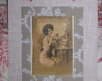 retro image: transfer on fabric and wood - Lady and her mail frame