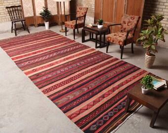 "Taditional Area Rug, Hand knotted rug, Striped rug, Oriental Rug, Vintage Rug, Wool Rug, Kilim Rug, Red Rug, 5'10"" x 13'11"", 041416"