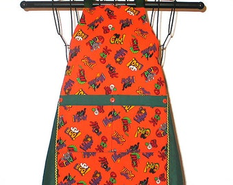 Childs Apron Halloween Creepy Critters Ages 3 thru 7 Reversible Adjustable