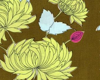 HALF YARD Belle Chrysanthemum Amy Butler Westminster Cotton Fabric PWAB115 Olive